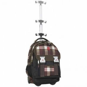 TAKE IT EASY Schulrucksack Trolley Madrid PLAID braun / pink