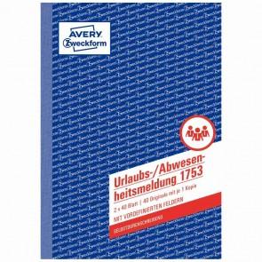 AVERY Urlaubsabwesenheitsmeldung A5 1753 2x40 Blatt selbstdurchschreibend
