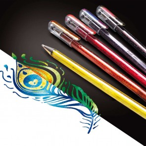 PENTEL Geltintenroller Glitter Dual Metallic 0,5mm -SPARPACK- 4 Stück K110-4COL