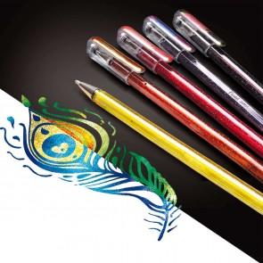 PENTEL Geltintenroller Glitter Dual Metallic 0,5mm -SPARPACK- 4 Stück K110-4XZ