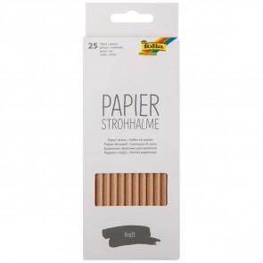 FOLIA Papier-Trinkhalme 6mm x 197mm 25 Stück natur braun