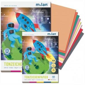 MILAN Tonzeichenpapierblock  A4 130g 20 Blatt 10 Farben