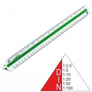 RUMOLD Dreikantmaßstab 150/DIN/30 Kunststoff 30cm weiß Ingenieur DIN 1:2,5 - 1:100
