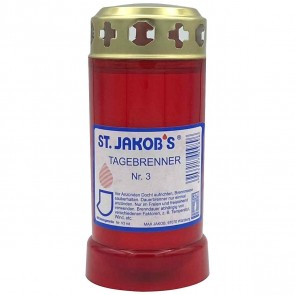 ST. JAKOBS 3-Tage-Brenner mit Metall-Deckel rot