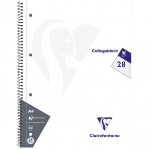 CLAIREFONTAINE Collegeblock INTENSIV A4 80 Blatt kariert Doppelrand LIN 28 90g -5 Stück SPARPACK-