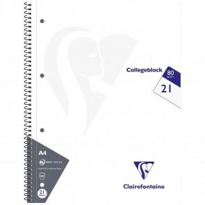 CLAIREFONTAINE Collegeblock INTENSIV A4 80 Blatt liniert LIN 21 90g -5 Stück SPARPACK-