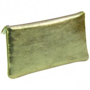 CLAIREFONTAINE Schlamperrolle flach 22 x 11cm echt Leder grün metallic