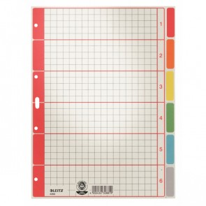 LEITZ Kartonregister Blanko 4350 A4 6Blatt grau/farbig